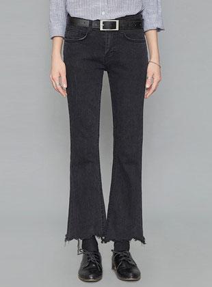 Black Boot-Cut Pants