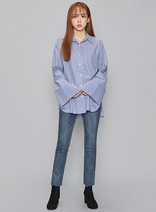 Trendy Wide Sleeve Stripe Shirts