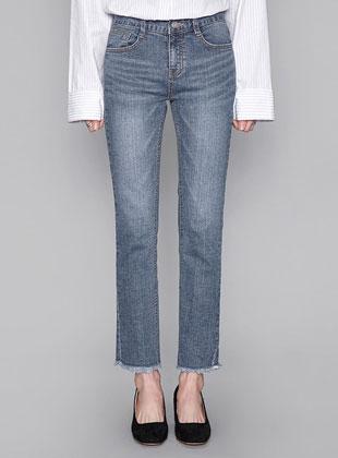 Cutting Hems Slim Straight Fit Pants