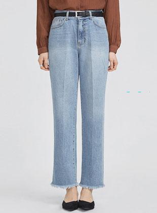 Back Pocket Point Straight Denim Pants