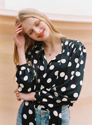 Big Dots Tie Blouse Black