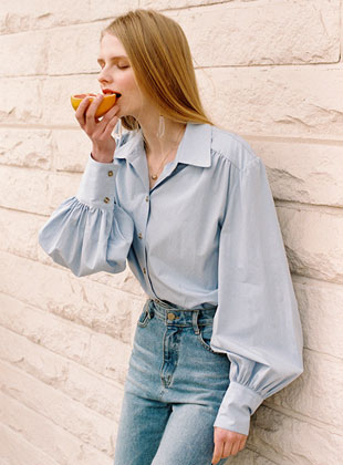 Balloon Sleeve Shirt Sky Blue