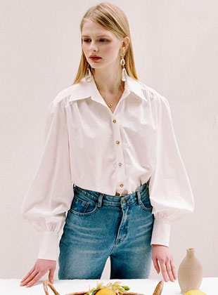 Balloon Sleeve Shirt Ivory