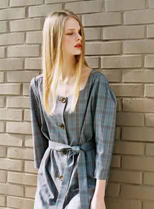 Square Neck Check Dress Blue