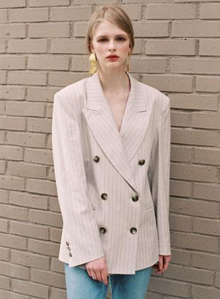 Pinstripe Double Jacket Beige