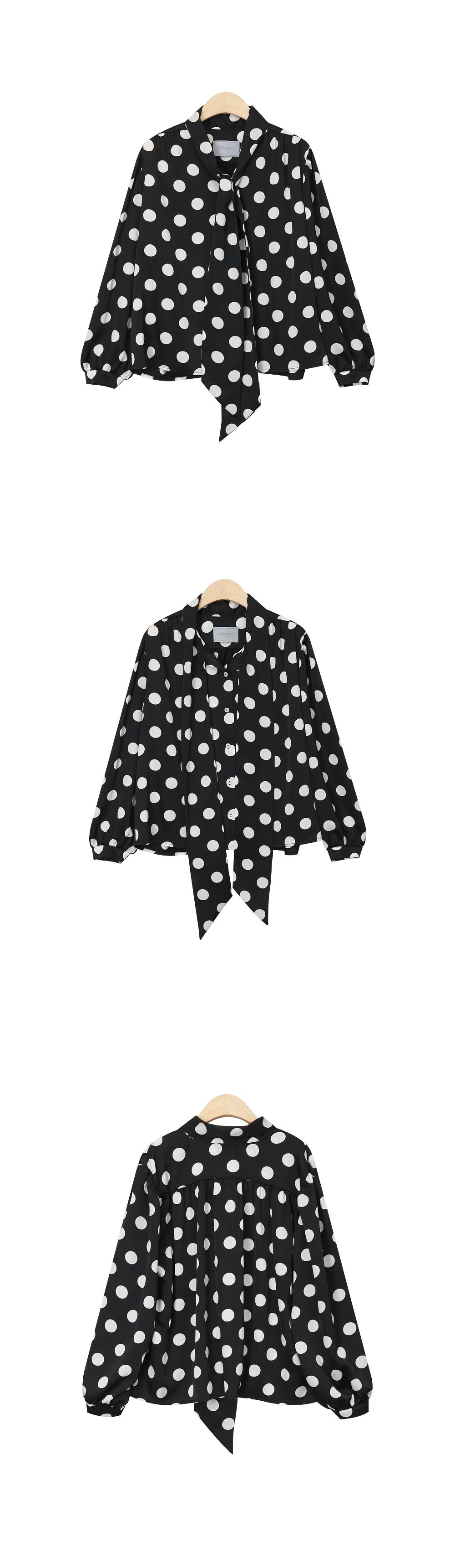 NOMINATE - Korean Fashion - #Kfashion - Big Dots Tie Blouse Black