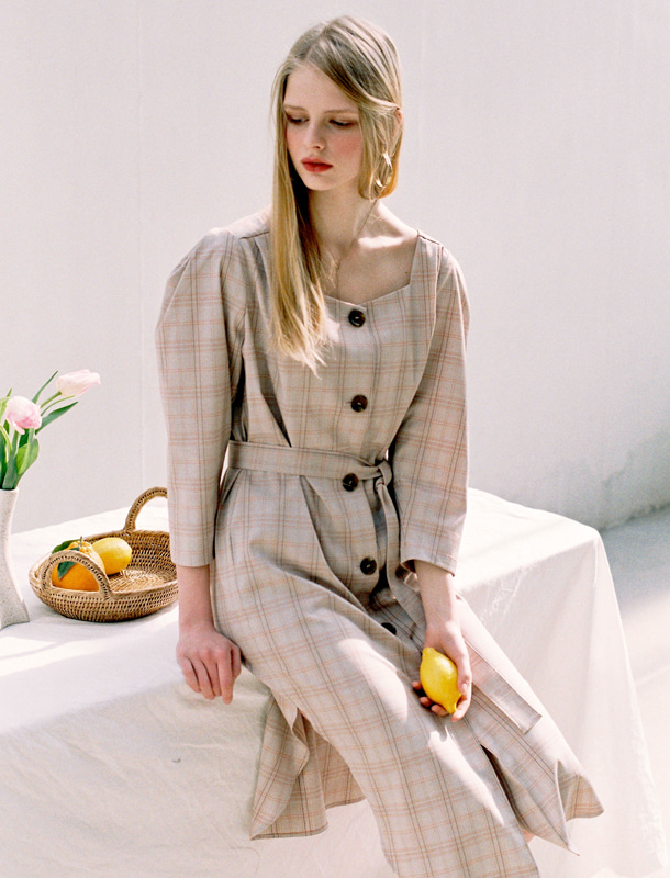 NOMINATE - BRAND - Korean Fashion - #Kfashion - Square Neck Check Dress Beige