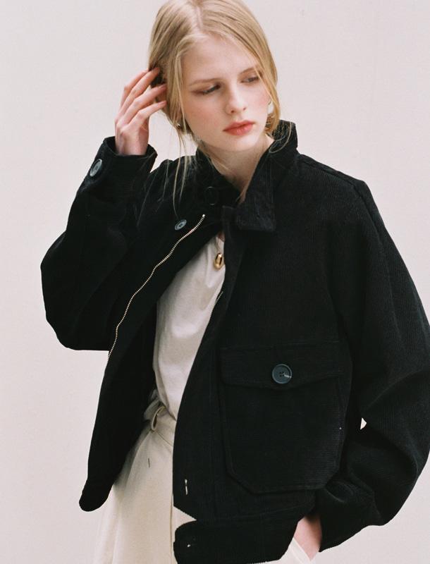 NOMINATE - BRAND - Korean Fashion - #Kfashion - Corduroy Bomber Jacket Black