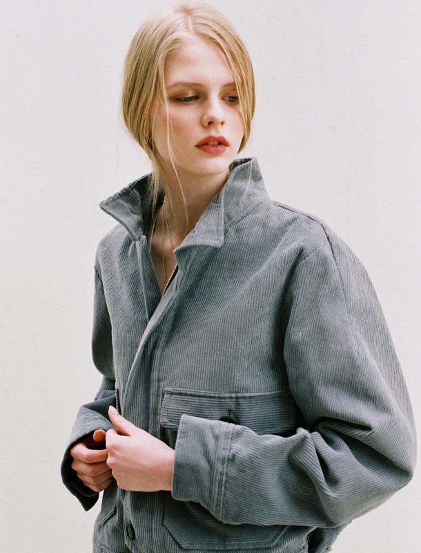 NOMINATE - BRAND - Korean Fashion - #Kfashion - Corduroy Bomber Jacket Blue Grey