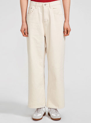 Solid Casual Wide Cotton Pants