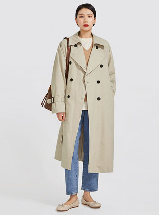 Sleeve Check Point Trench Coat