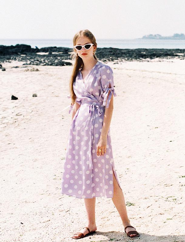NOMINATE - BRAND - Korean Fashion - #Kfashion - Big Dot Wrap Onepiece Lavender