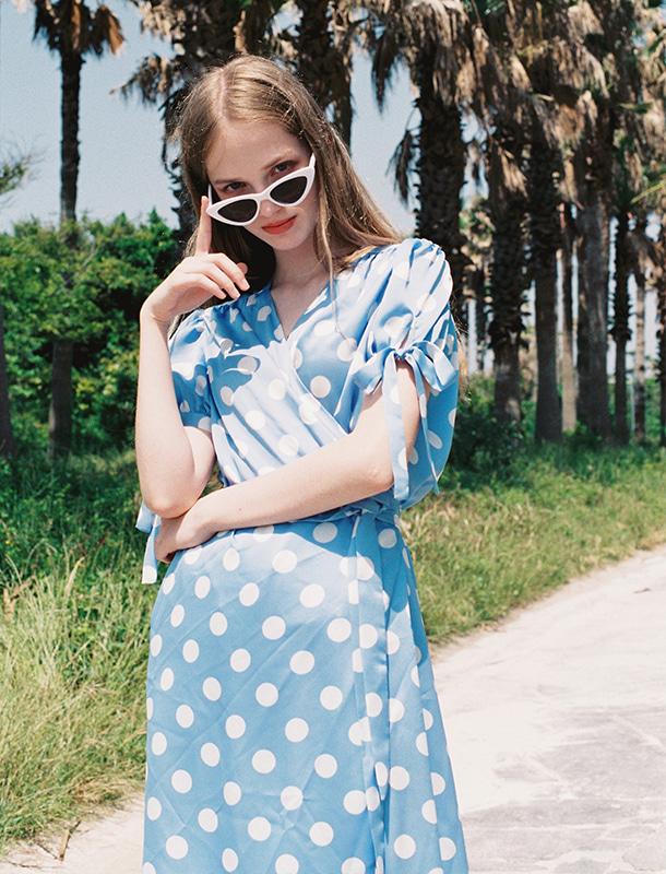 NOMINATE - BRAND - Korean Fashion - #Kfashion - Big Dot Wrap Onepiece Sky Blue