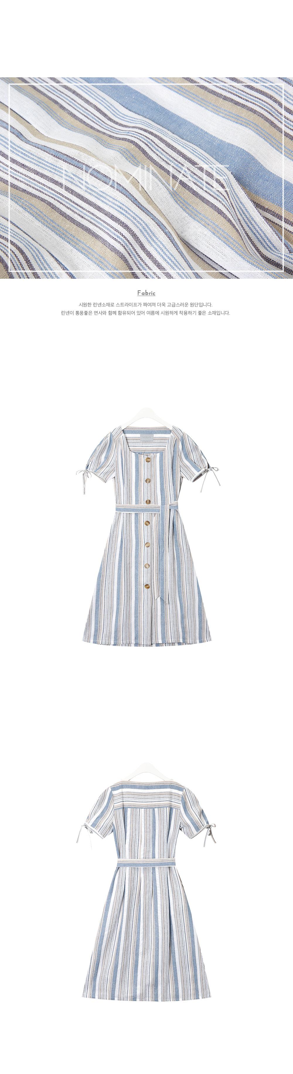 NOMINATE - Korean Fashion - #Kfashion - Linen Stripe Button Dart Dress Sky Blue