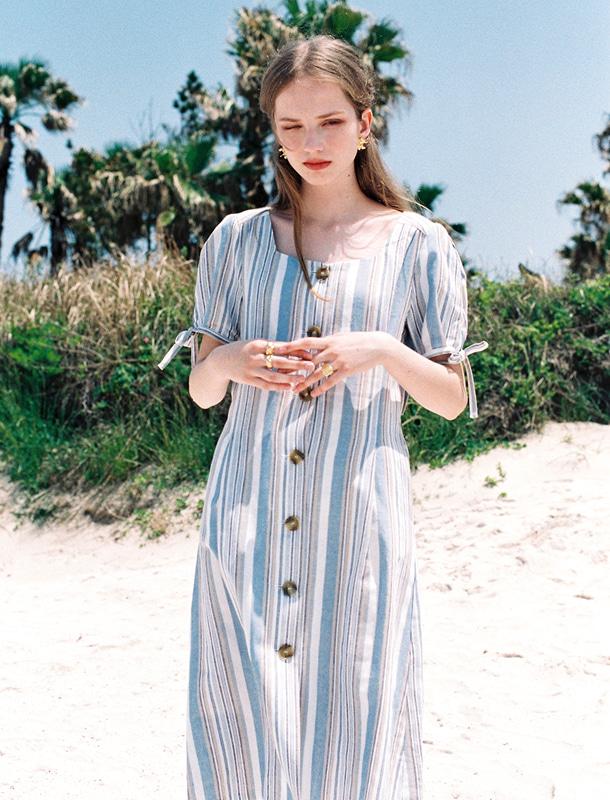 NOMINATE - BRAND - Korean Fashion - #Kfashion - Linen Stripe Button Dart Dress Sky Blue