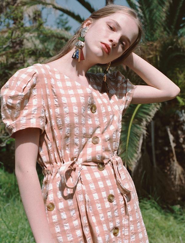 NOMINATE - BRAND - Korean Fashion - #Kfashion - Gingham Check Dress Beige