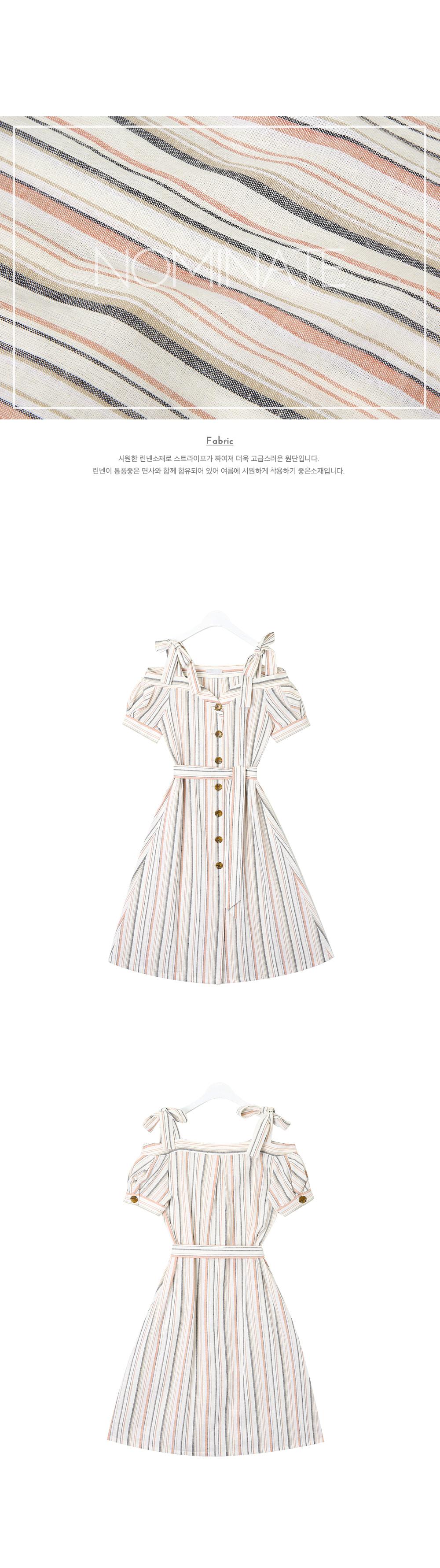 NOMINATE - Korean Fashion - #Kfashion - Linen Off-Shoulder Puff Dress Coral Stripe