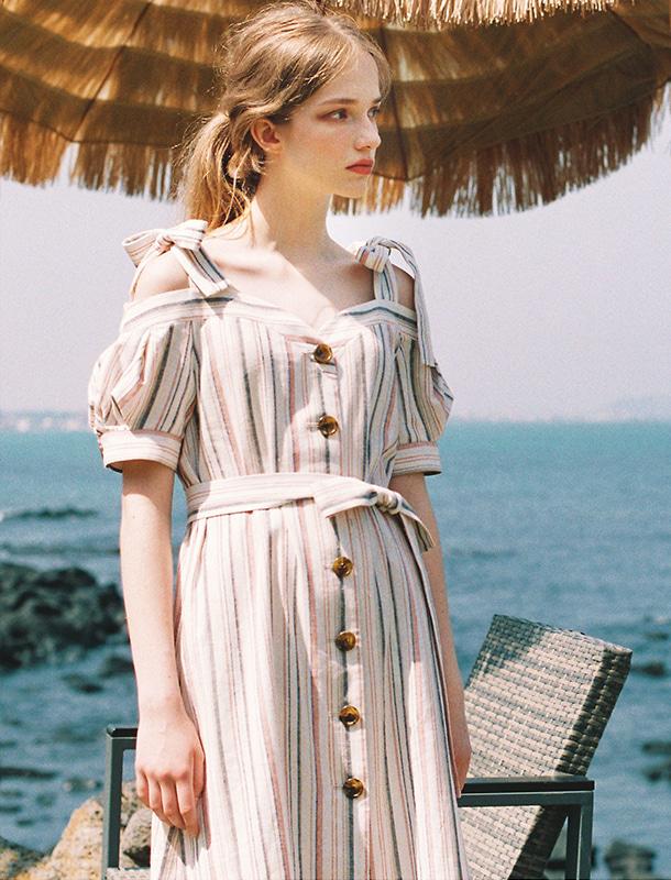 NOMINATE - BRAND - Korean Fashion - #Kfashion - Linen Off-Shoulder Puff Dress Coral Stripe