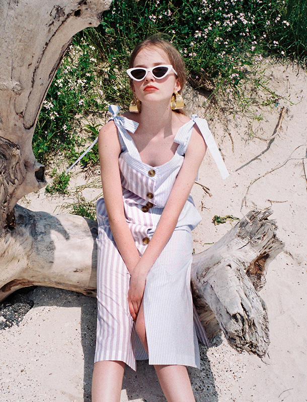 NOMINATE - BRAND - Korean Fashion - #Kfashion - Stripe Bicolor Dress Lavender-Sky Blue