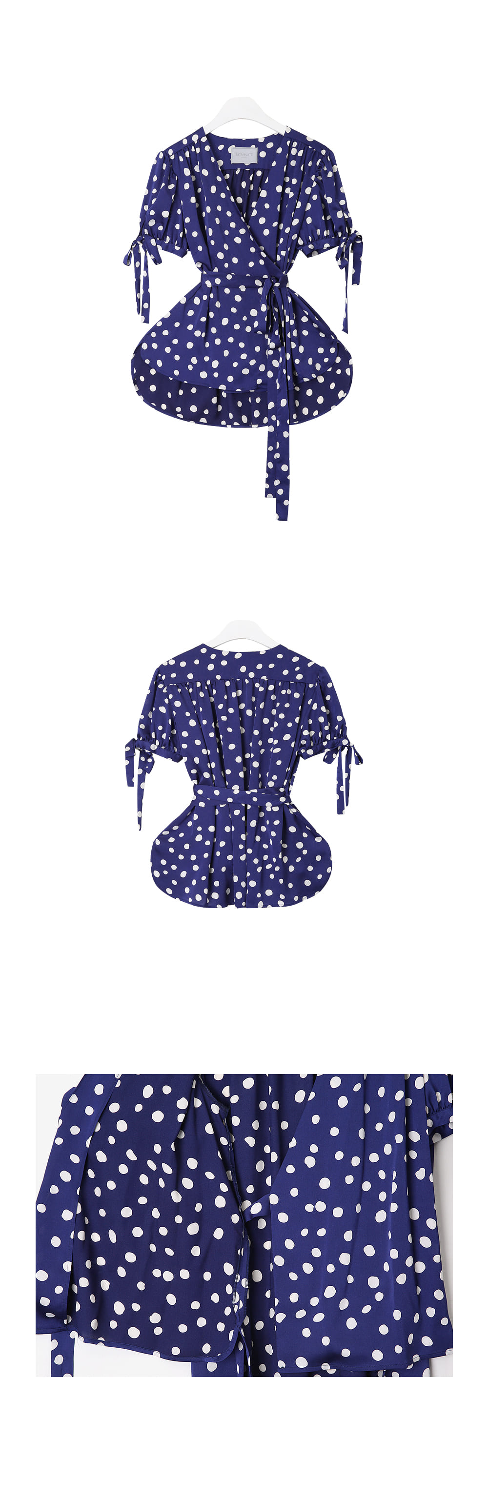 NOMINATE - Korean Fashion - #Kfashion - Polka Dot Wrap Blouse Blue