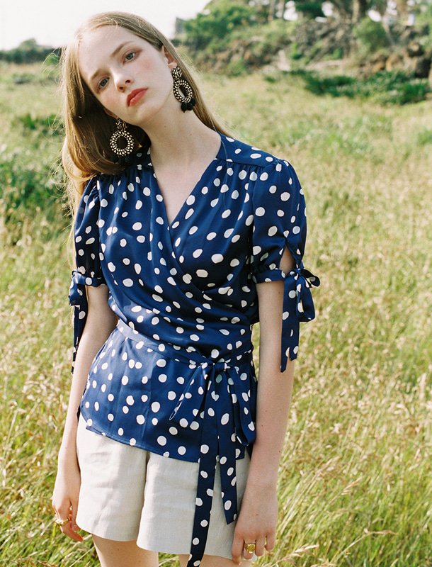 NOMINATE - BRAND - Korean Fashion - #Kfashion - Polka Dot Wrap Blouse Blue