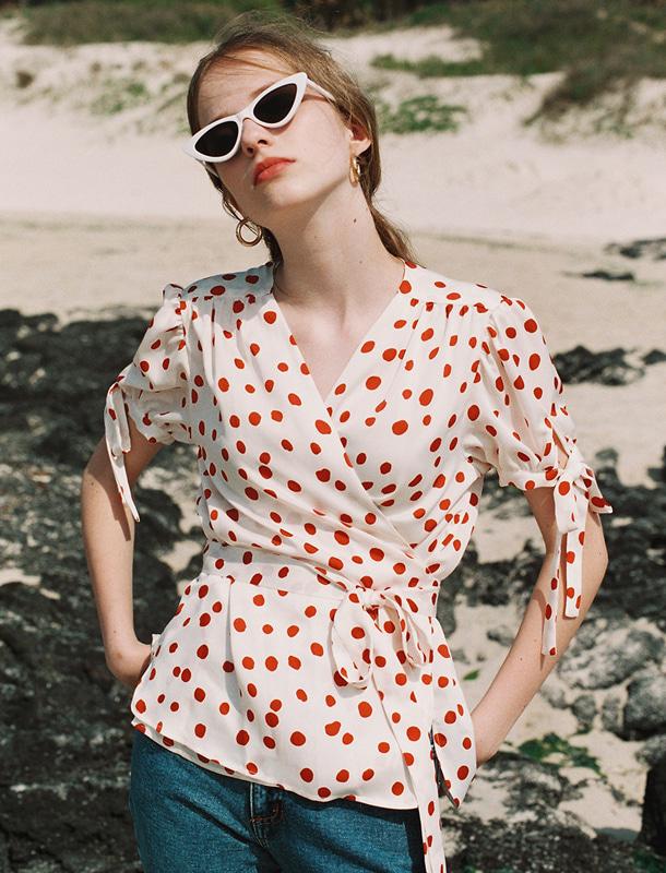 NOMINATE - BRAND - Korean Fashion - #Kfashion - Polka Dot Wrap Blouse Red