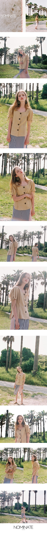 NOMINATE - Korean Fashion - #Kfashion - Linen Button Dart Blouse Custard Beige