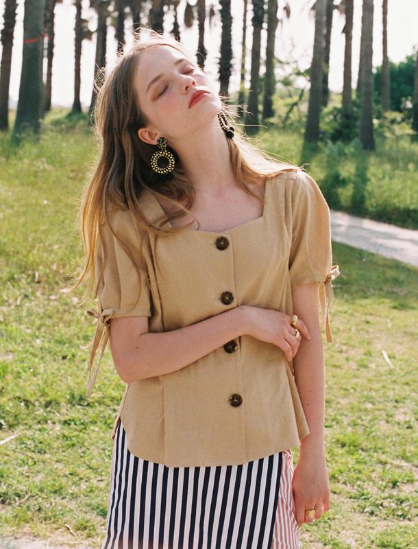 NOMINATE - BRAND - Korean Fashion - #Kfashion - Linen Button Dart Blouse Custard Beige