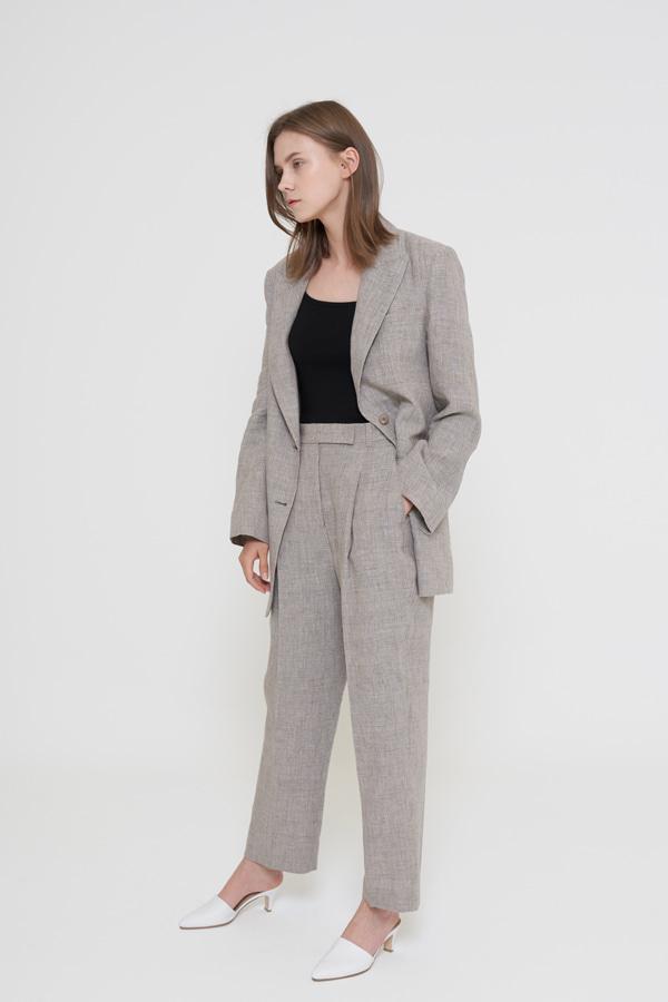 BLOSSOM - Korean Fashion - #Kfashion - Brown Linen Jacket [set of 2]